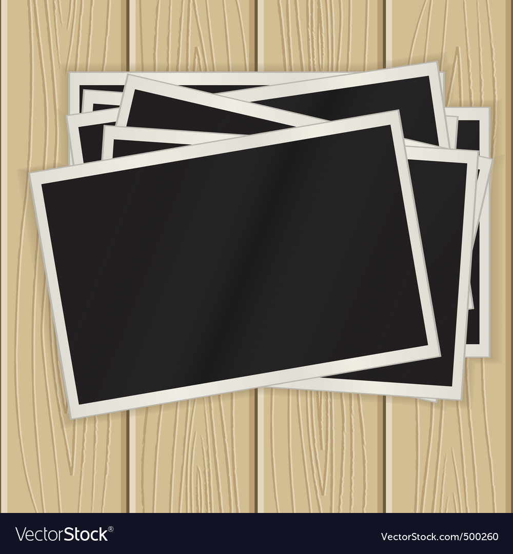 Photos on a wooden surface vector | Price: 1 Credit (USD $1)