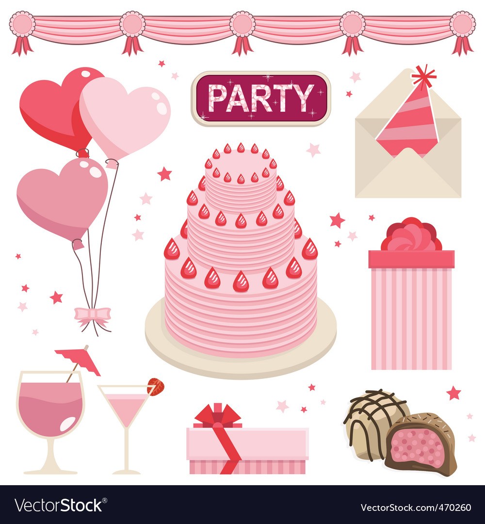 Pink party vector | Price: 1 Credit (USD $1)