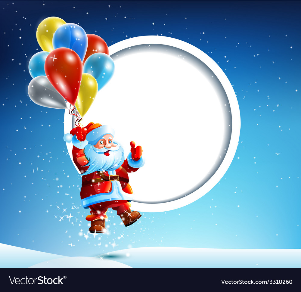 Santa claus flies on a balloon vector | Price: 3 Credit (USD $3)
