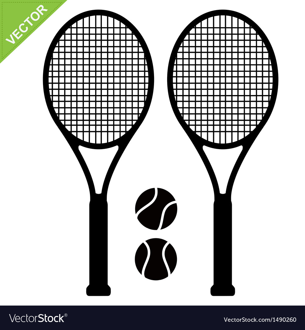 Tennis racket silhouettes vector | Price: 1 Credit (USD $1)
