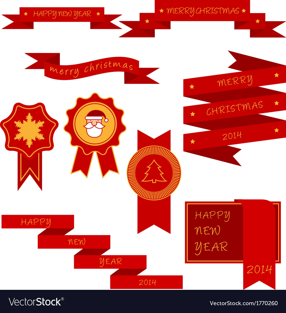 Xmas labels and ribbon vector | Price: 1 Credit (USD $1)
