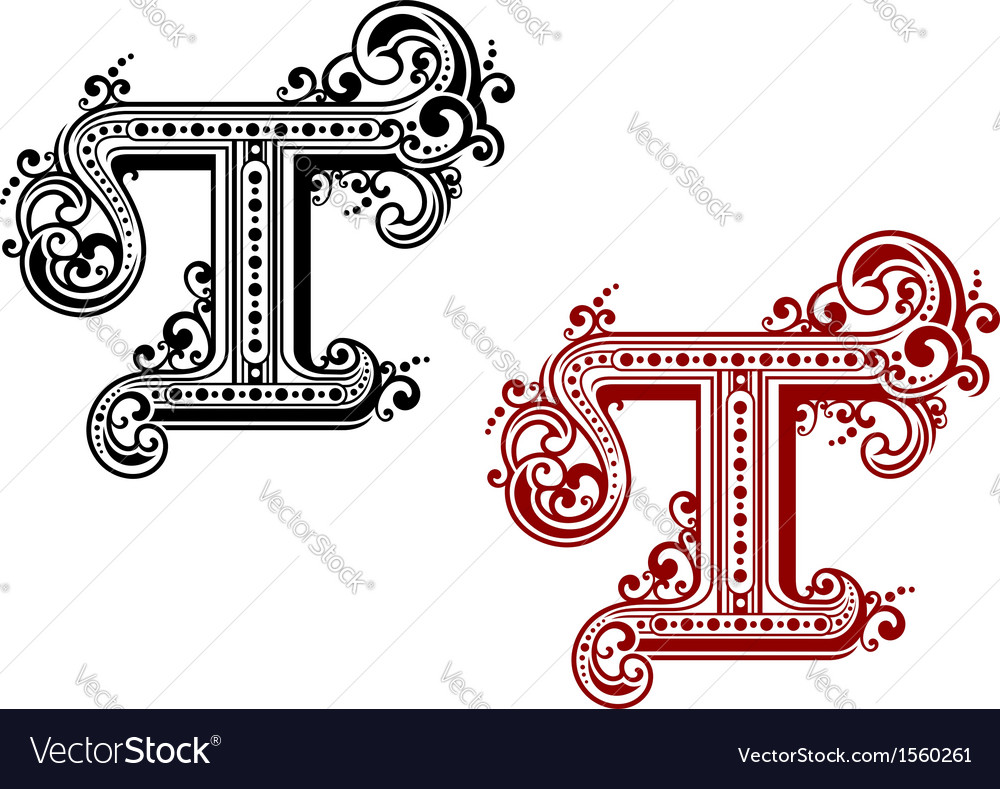 Capital letter t in retro style vector | Price: 1 Credit (USD $1)