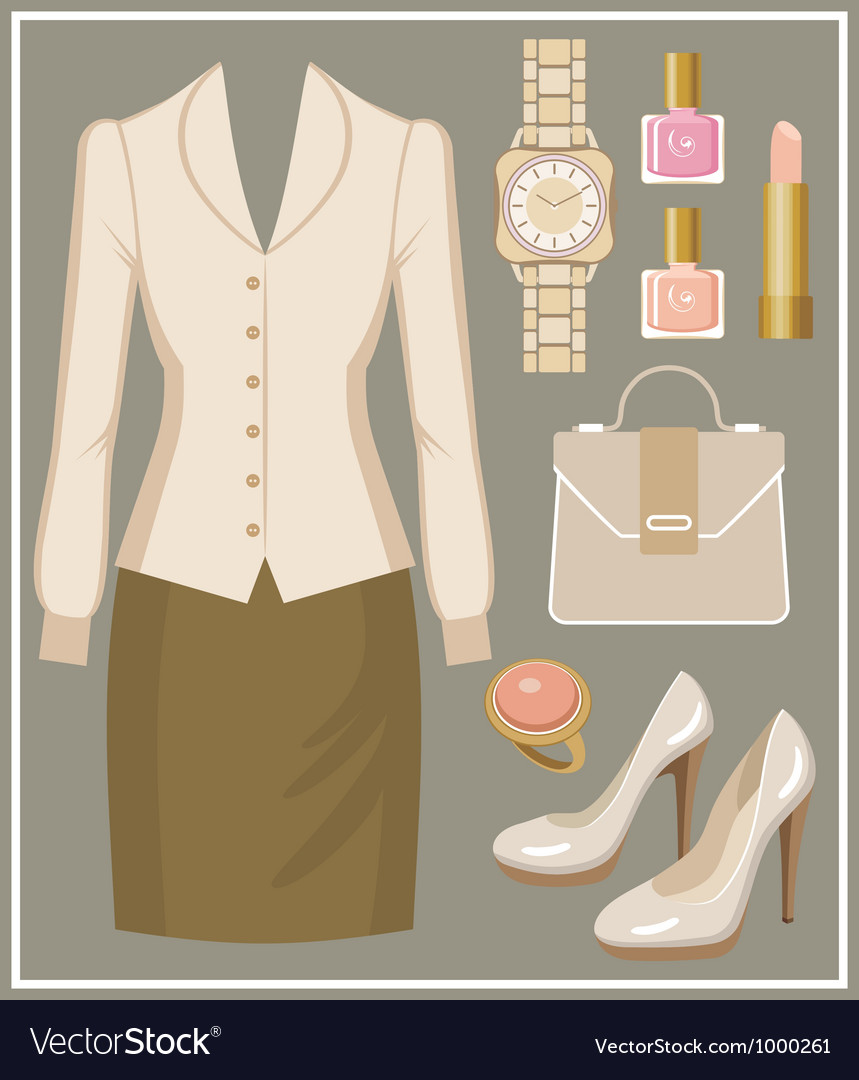 Fashion set with a blouse and a skirt vector | Price: 3 Credit (USD $3)