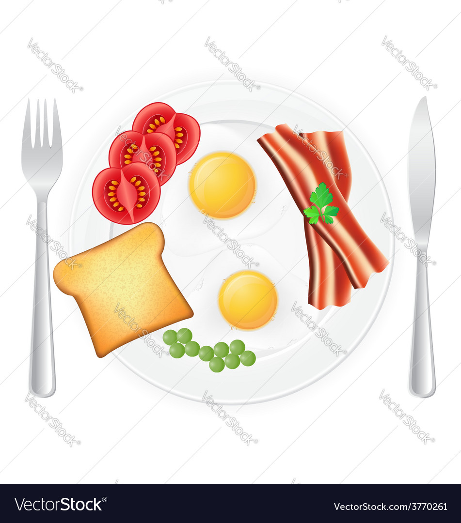 Fried eggs on a plate vector | Price: 1 Credit (USD $1)
