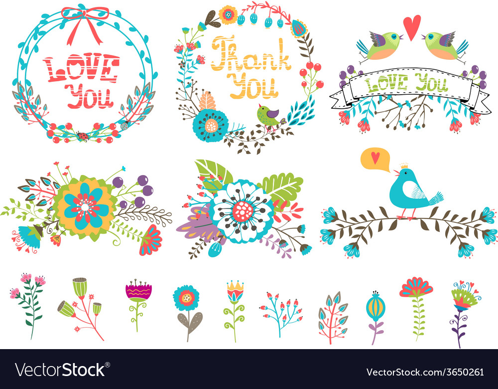 Hand drawn wedding graphic flowers and wreaths for vector