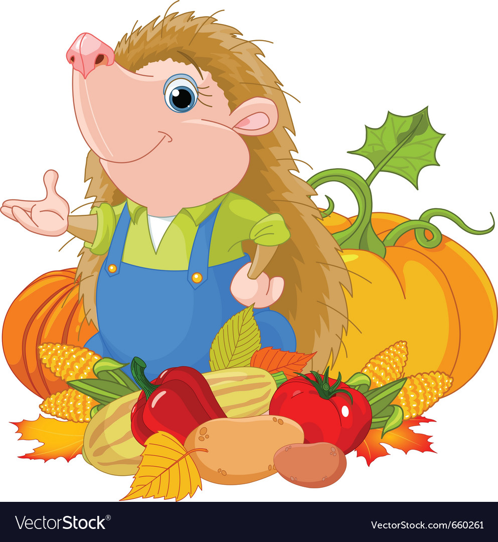 Hedgehog with harvest fruits vector | Price: 3 Credit (USD $3)