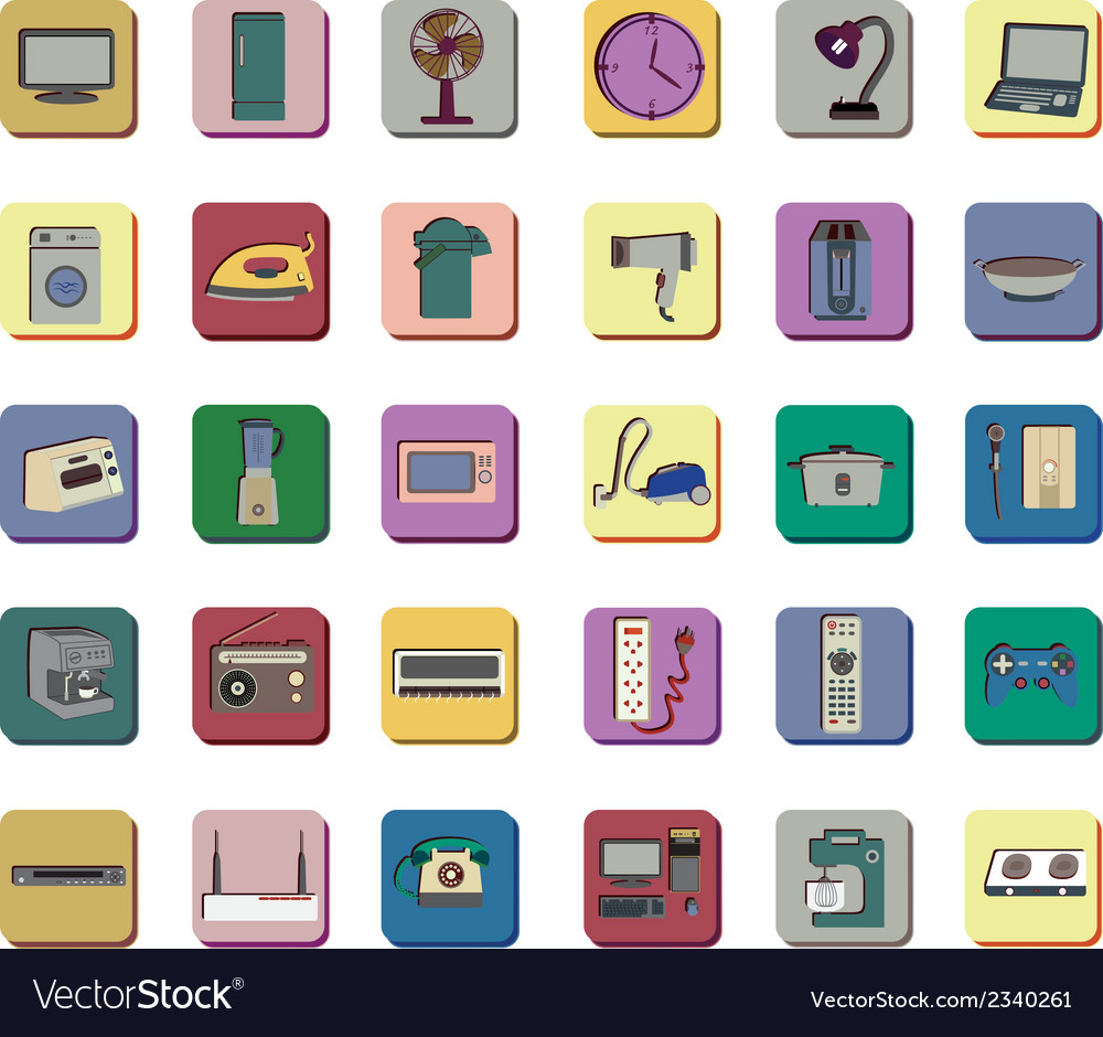 Icon set of electronic appliances vector | Price: 1 Credit (USD $1)