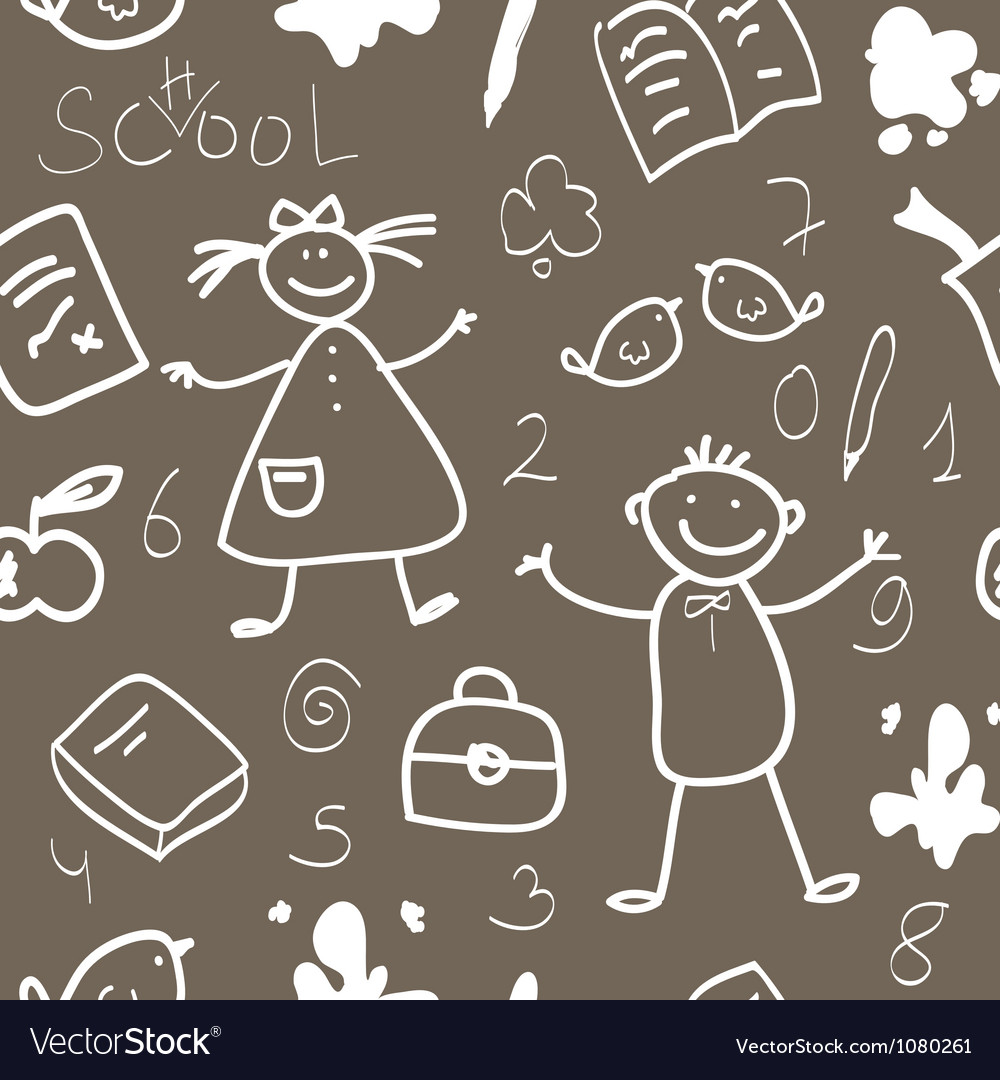 School vintage seamless pattern sketch vector | Price: 1 Credit (USD $1)