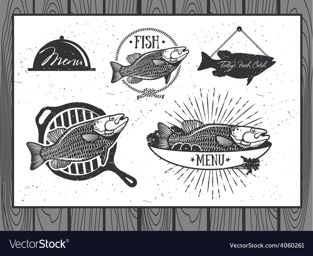 Seafood labels fish packaging design vector | Price: 1 Credit (USD $1)