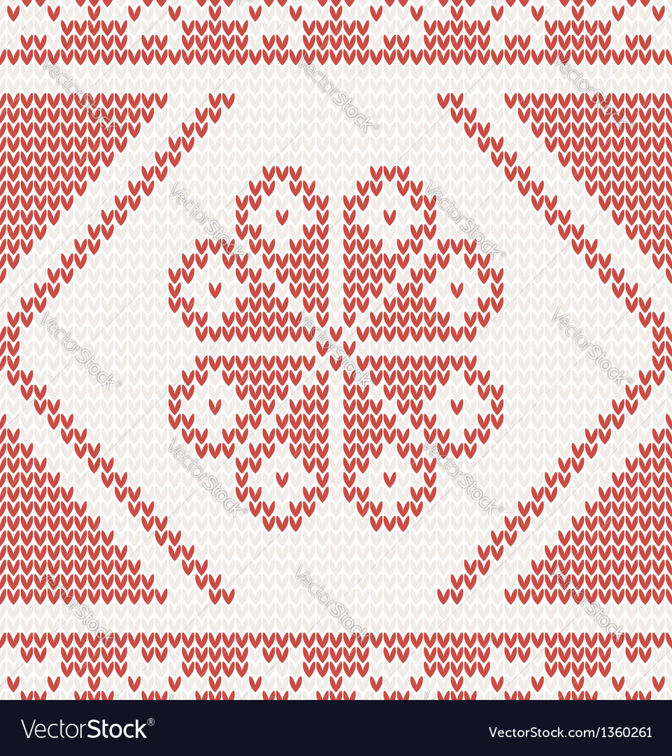 Seamless knitted pattern with red flower vector | Price: 1 Credit (USD $1)
