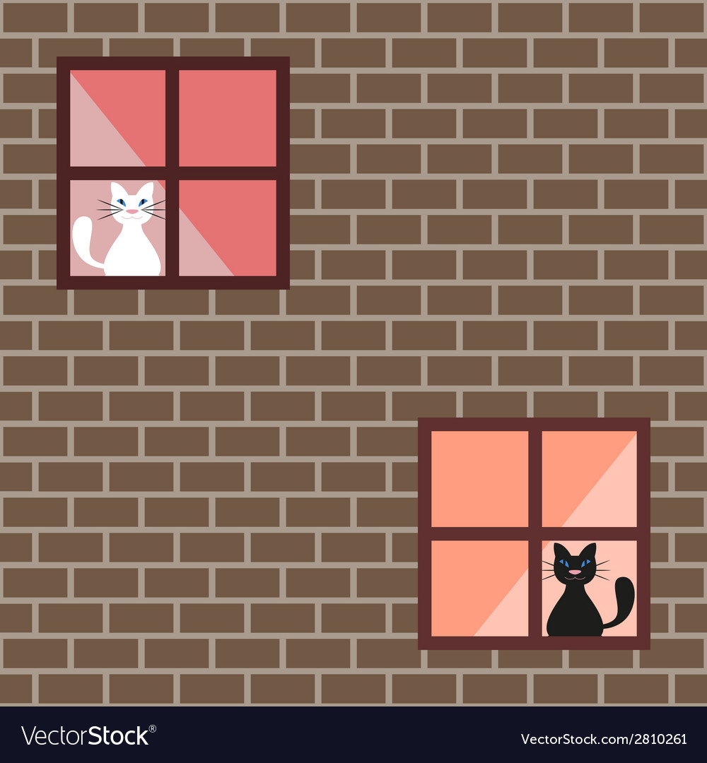 Seamless pattern of a cats in house windows vector | Price: 1 Credit (USD $1)