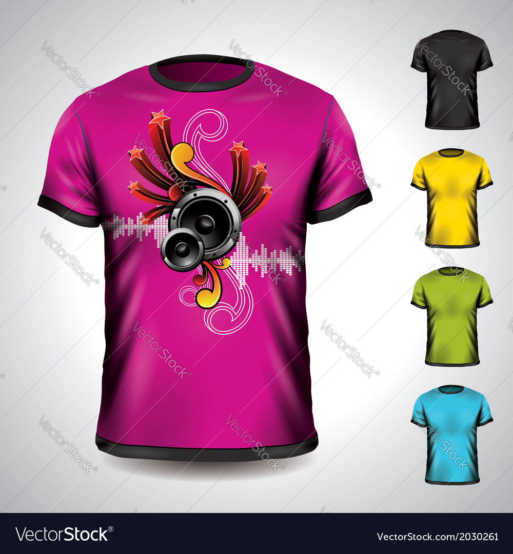 T-shirt set on a musical theme with speakers vector | Price: 1 Credit (USD $1)