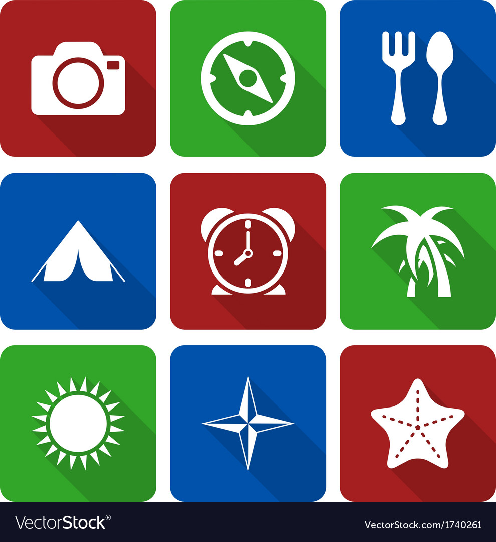 White travel icons with long shadows vol 2 vector   Price: 1 Credit (USD $1)