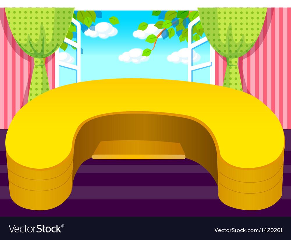 Wooden desk open window vector | Price: 1 Credit (USD $1)