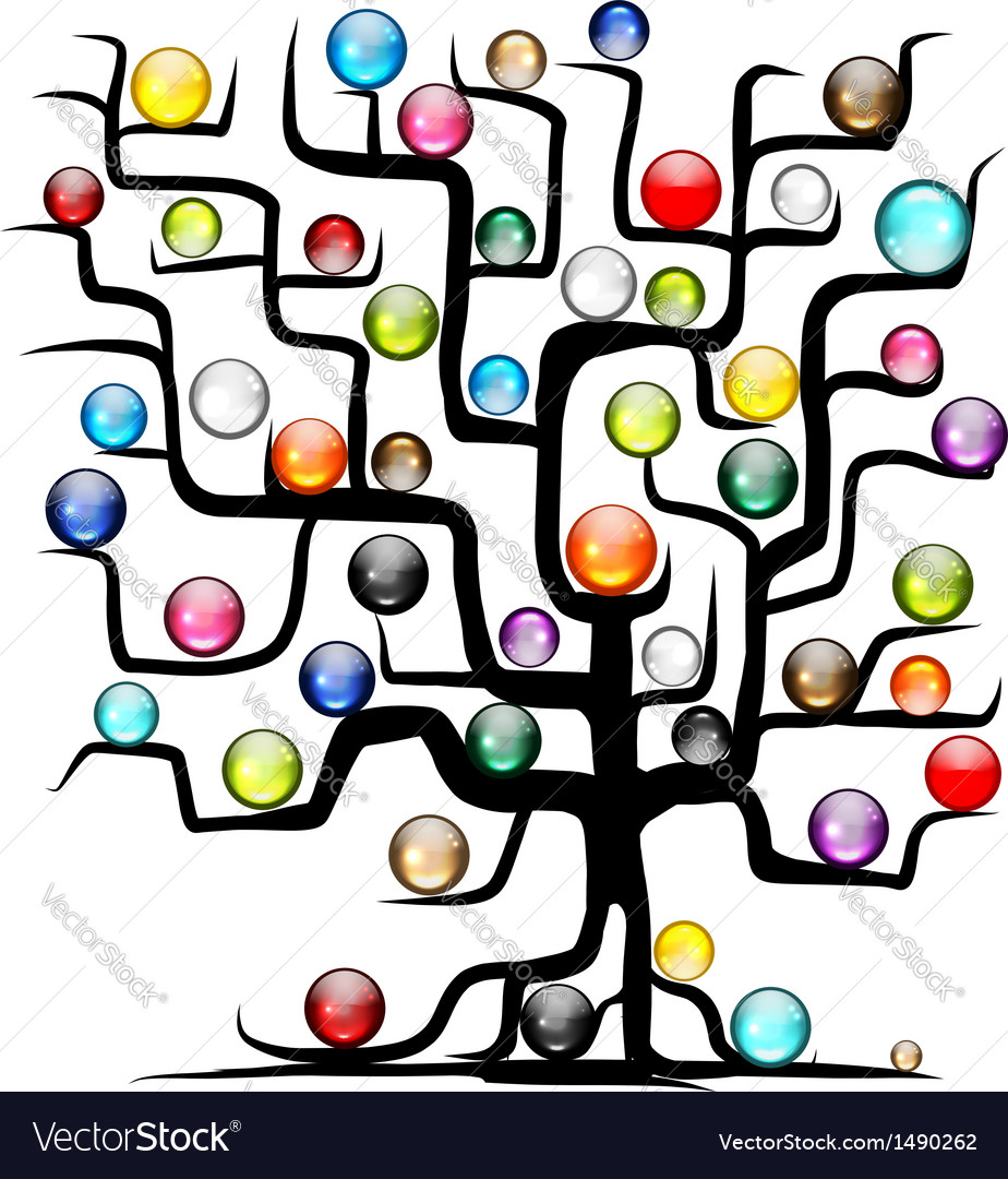 Abstract tree with glossy balls for your design vector | Price: 1 Credit (USD $1)