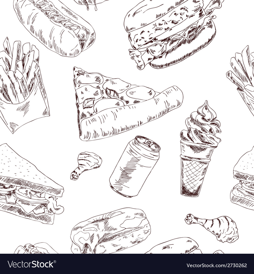 Fast food sketch seamless vector | Price: 1 Credit (USD $1)
