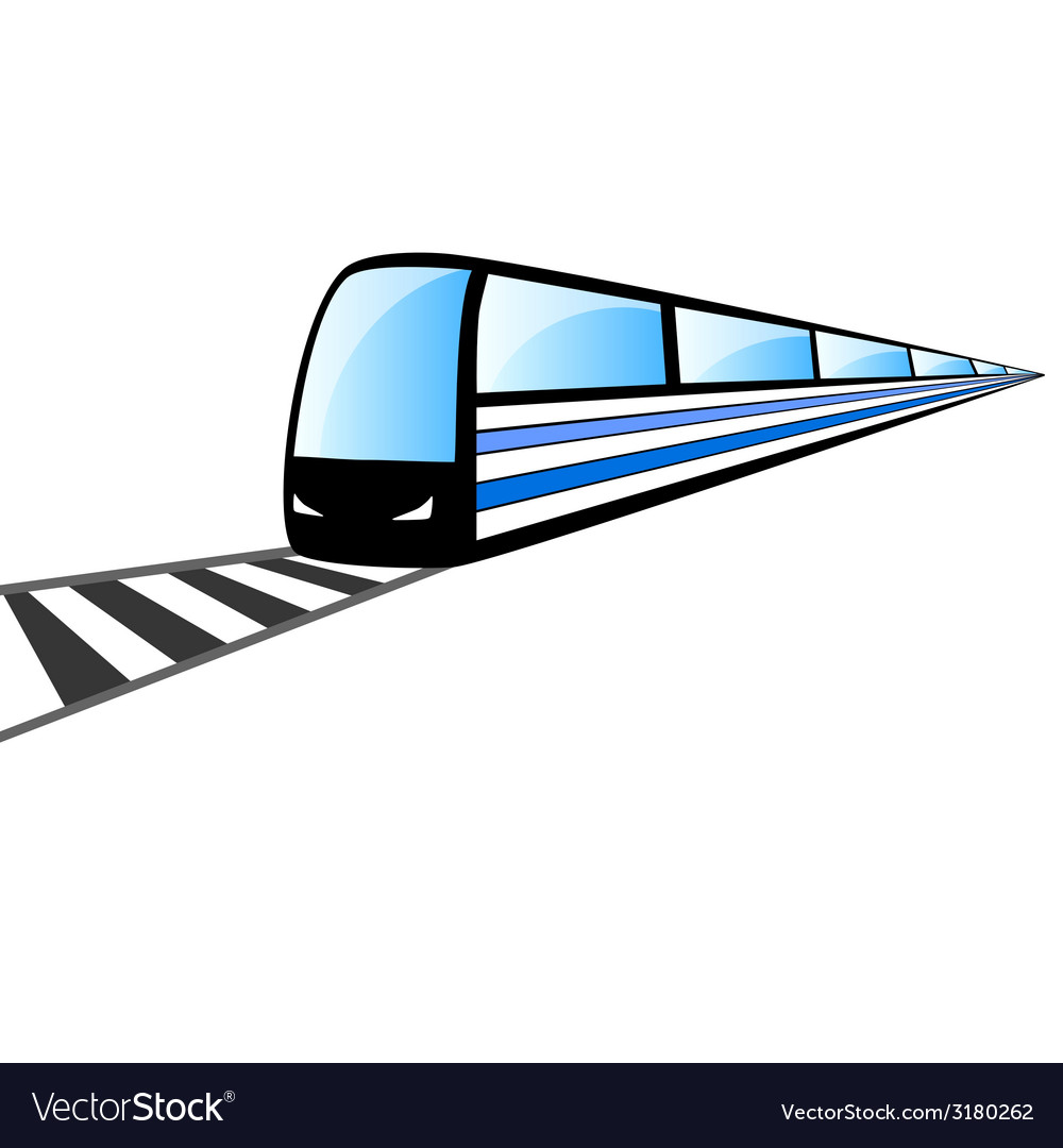 Fast train on the rails vector | Price: 1 Credit (USD $1)