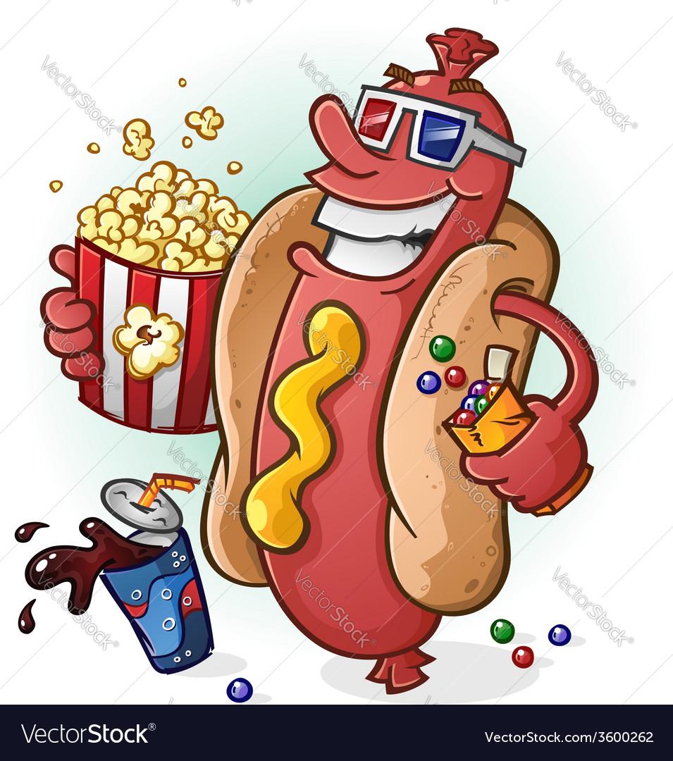 Hot dog at the movies cartoon character vector | Price: 5 Credit (USD $5)
