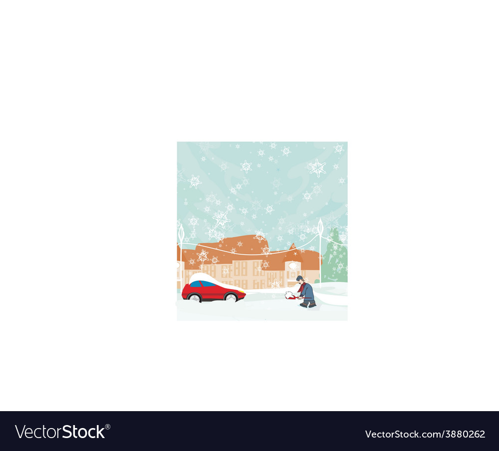 Man shoveling snow from street in winter vector   Price: 1 Credit (USD $1)
