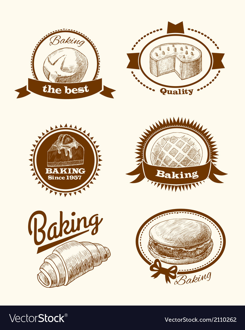 Pastry and bread labels vector | Price: 1 Credit (USD $1)