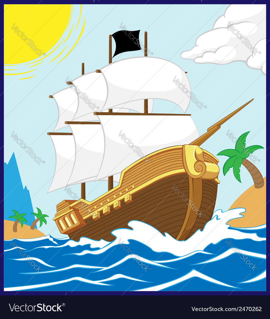 Pirate ship on the shore square frame vector | Price: 1 Credit (USD $1)