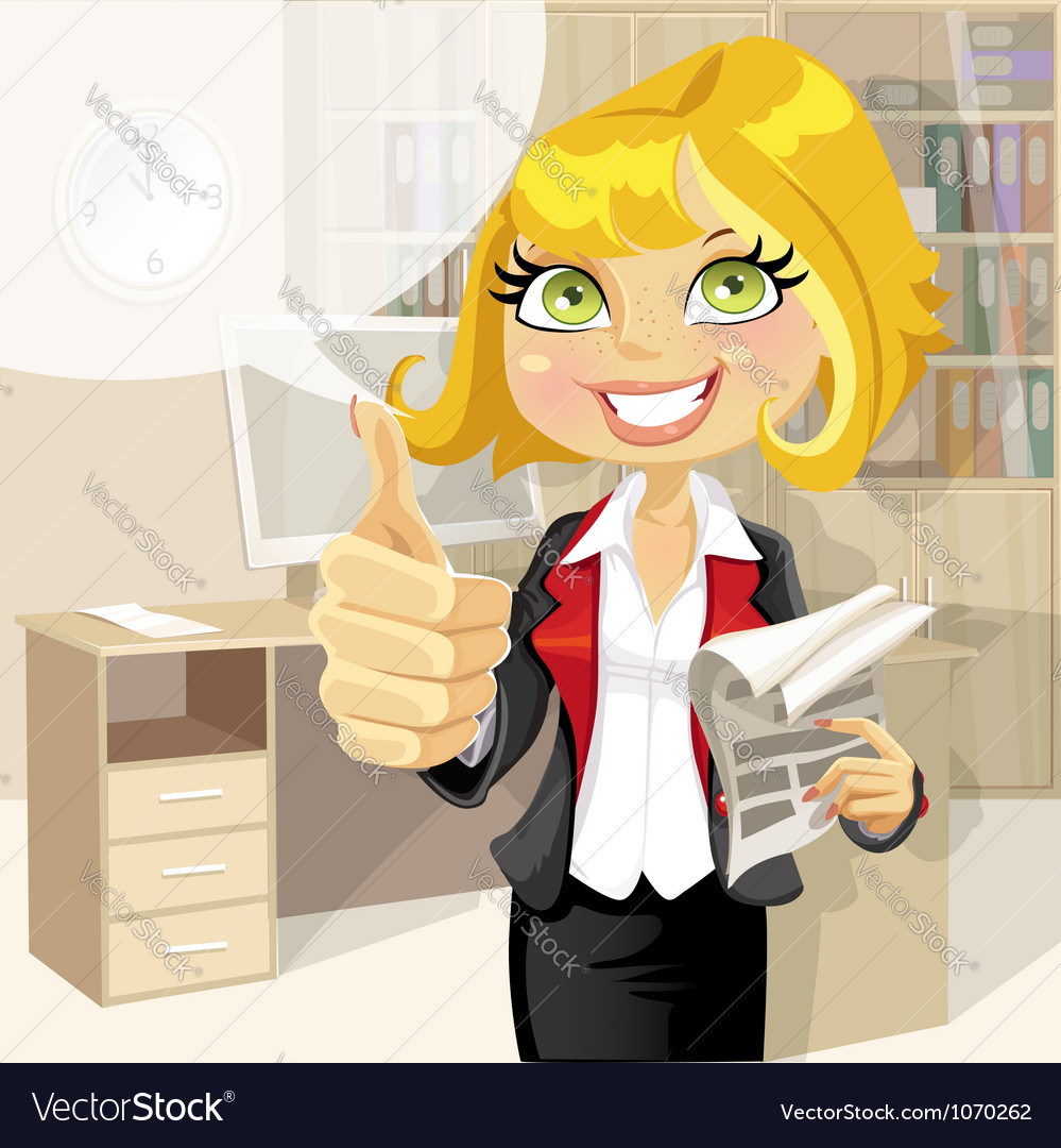 Pretty business woman in office show ok vector | Price: 5 Credit (USD $5)