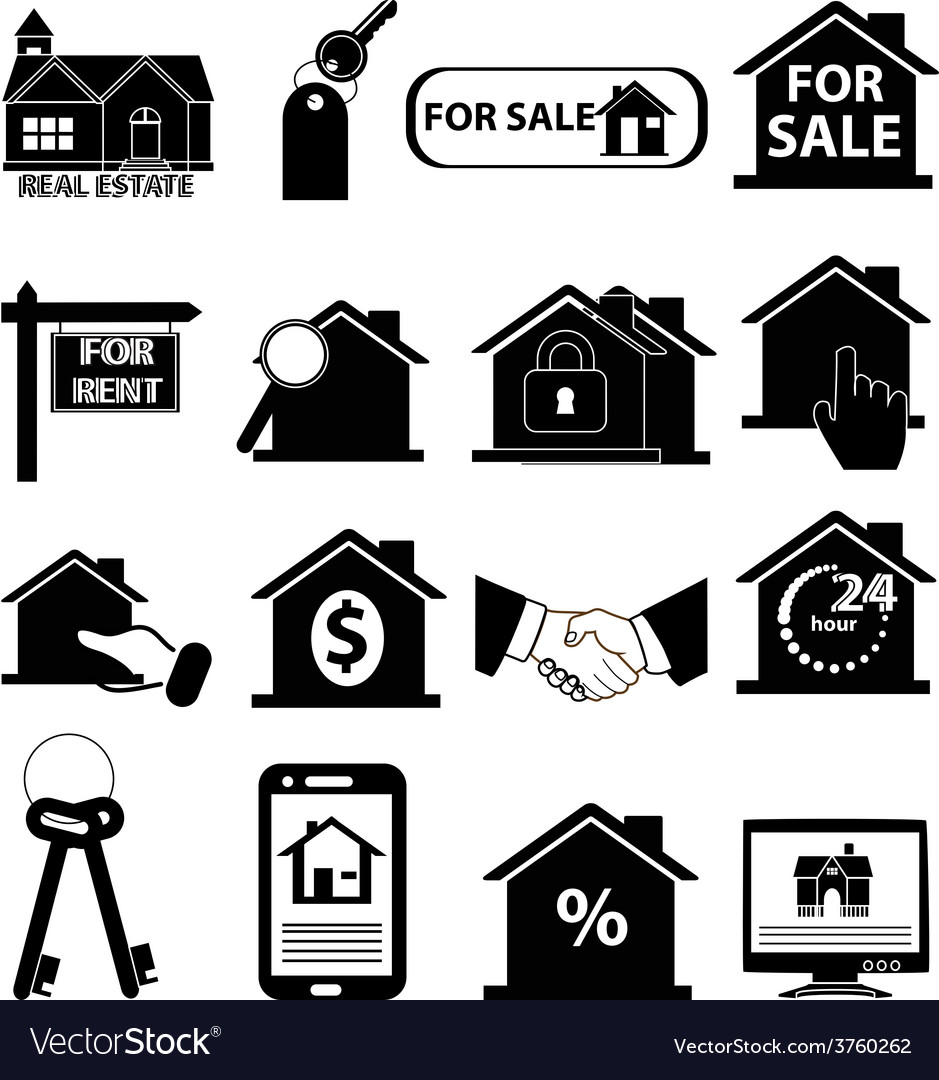 Real estate icons set vector | Price: 3 Credit (USD $3)