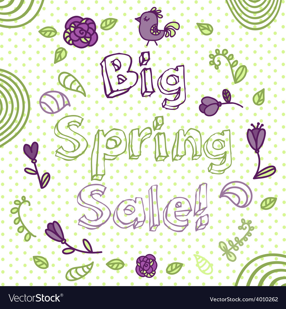 Spring sale flower composition background hand vector   Price: 1 Credit (USD $1)
