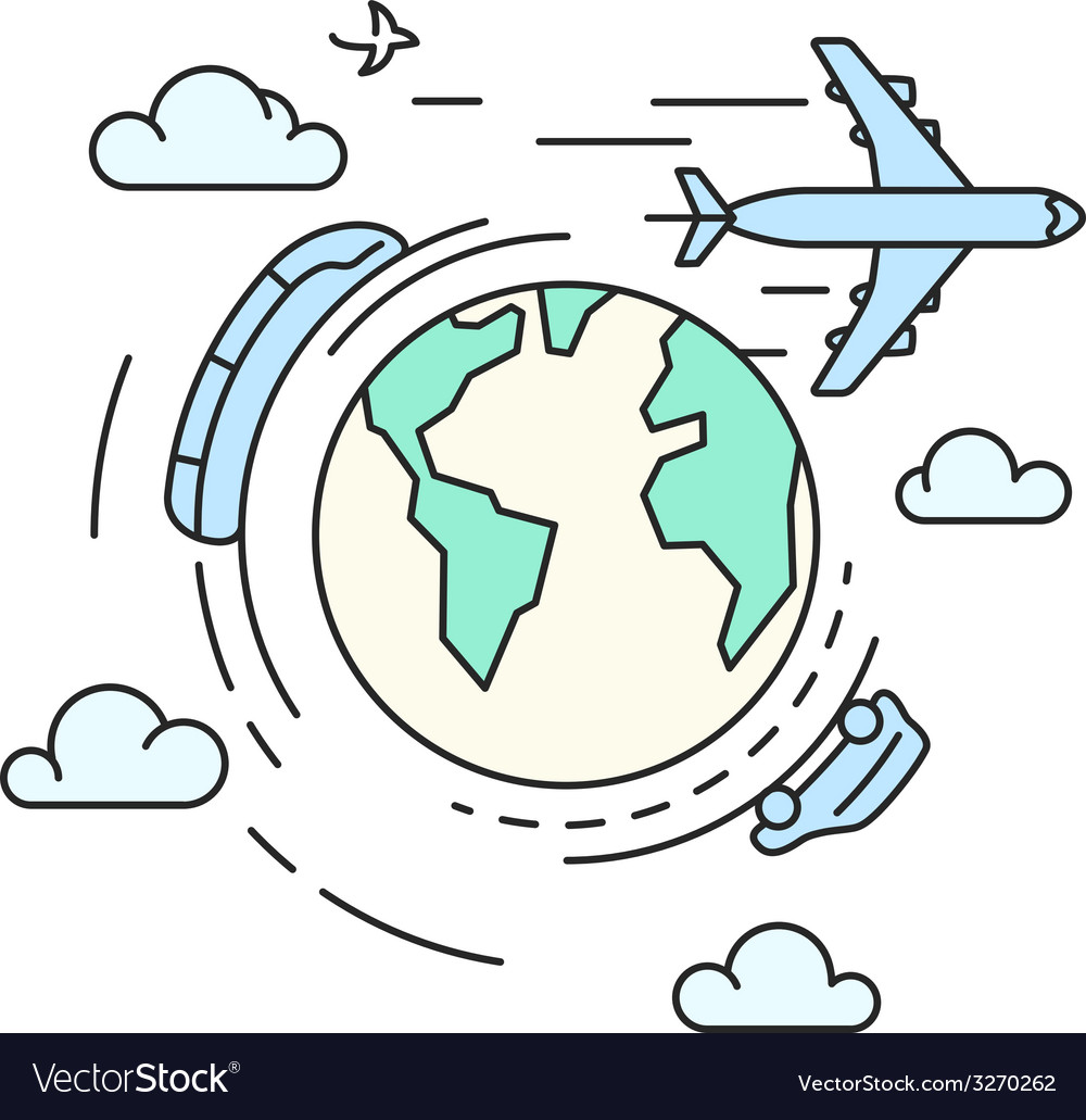 Travel around the earth transport vector | Price: 1 Credit (USD $1)