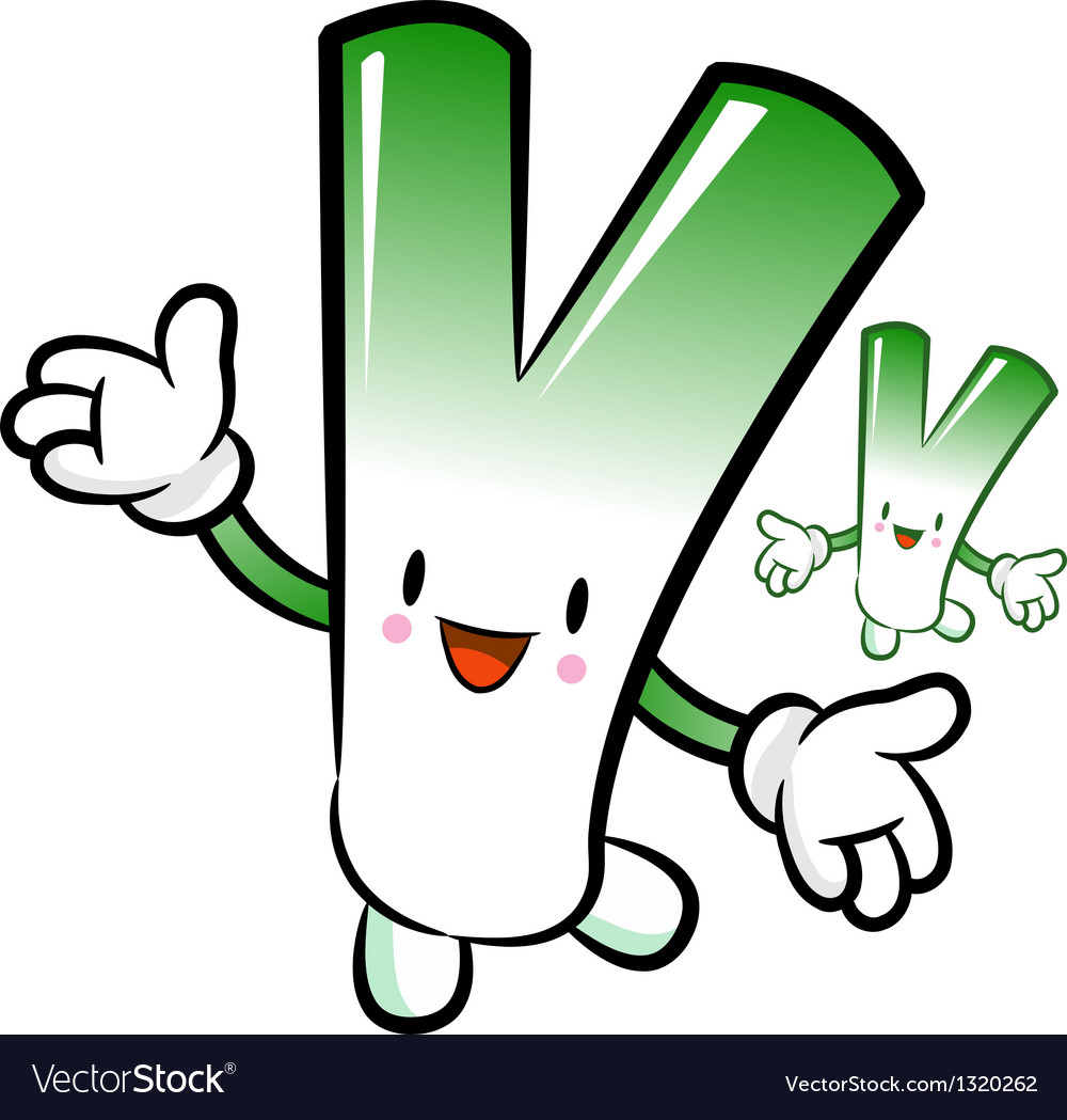 Welsh onion the direction of pointing with hands vector | Price: 1 Credit (USD $1)