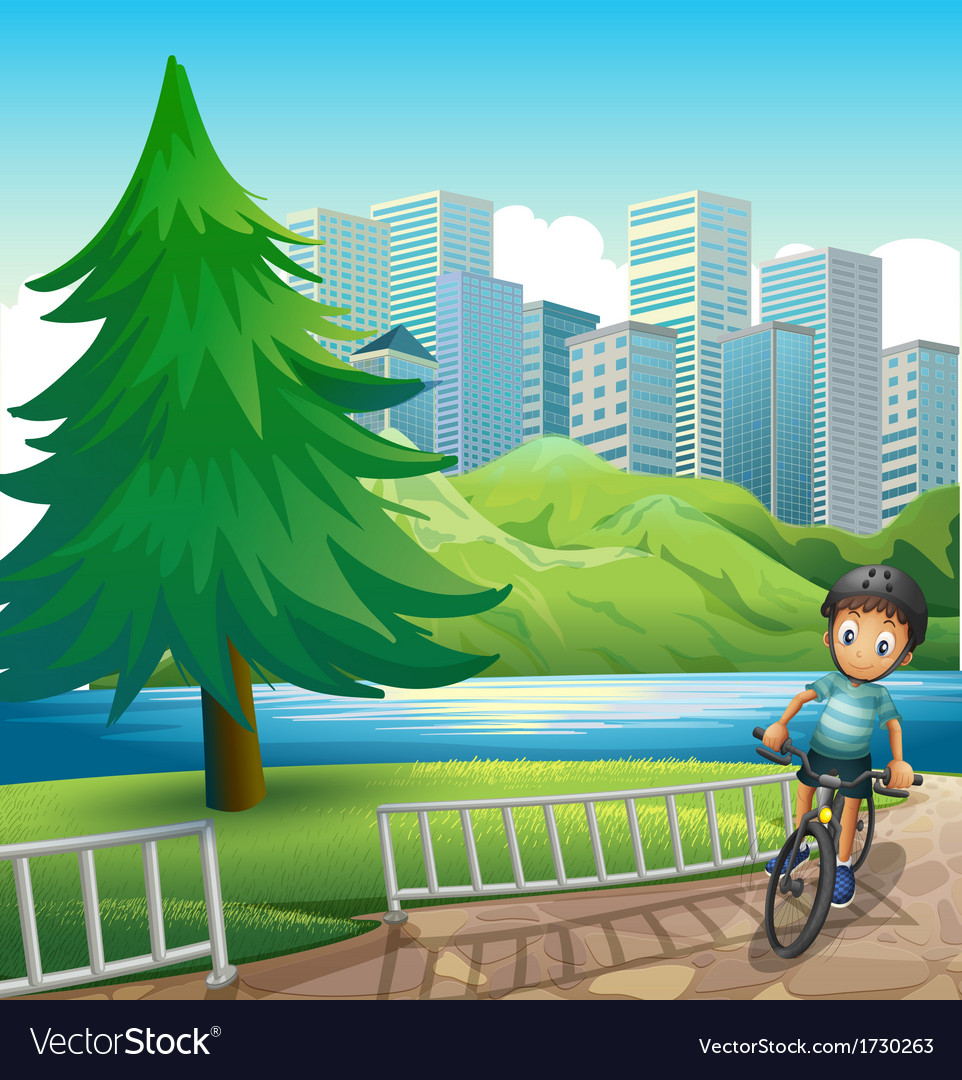 A boy biking across the tall buildings near the vector | Price: 3 Credit (USD $3)