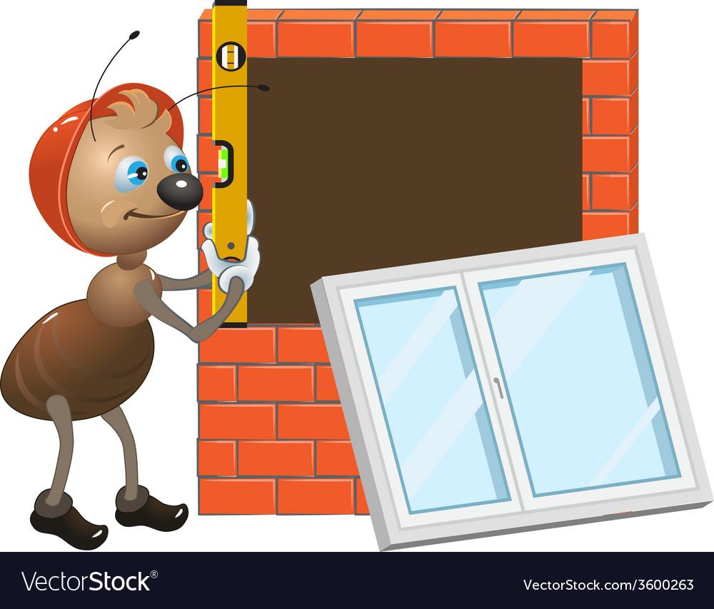Ant worker installing plastic window vector   Price: 1 Credit (USD $1)