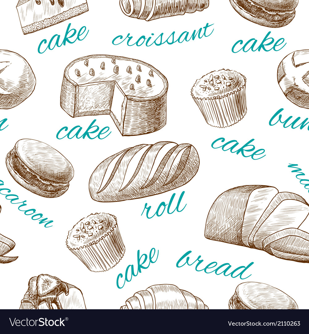 Baking pastry seamless wallpaper vector | Price: 1 Credit (USD $1)