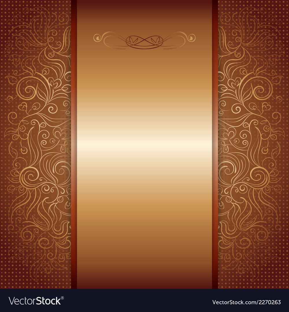 Brown with gold damask pattern royal invitation vector | Price: 1 Credit (USD $1)
