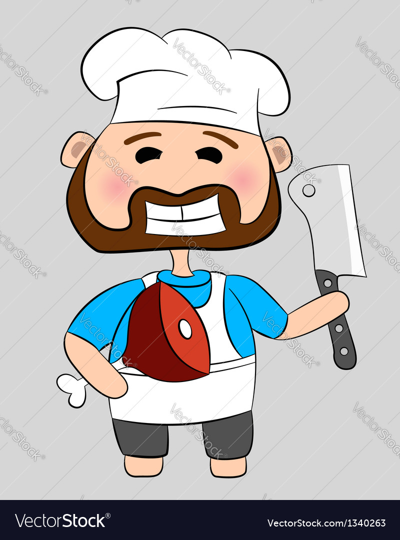 Butcher with knife and meat vector | Price: 1 Credit (USD $1)