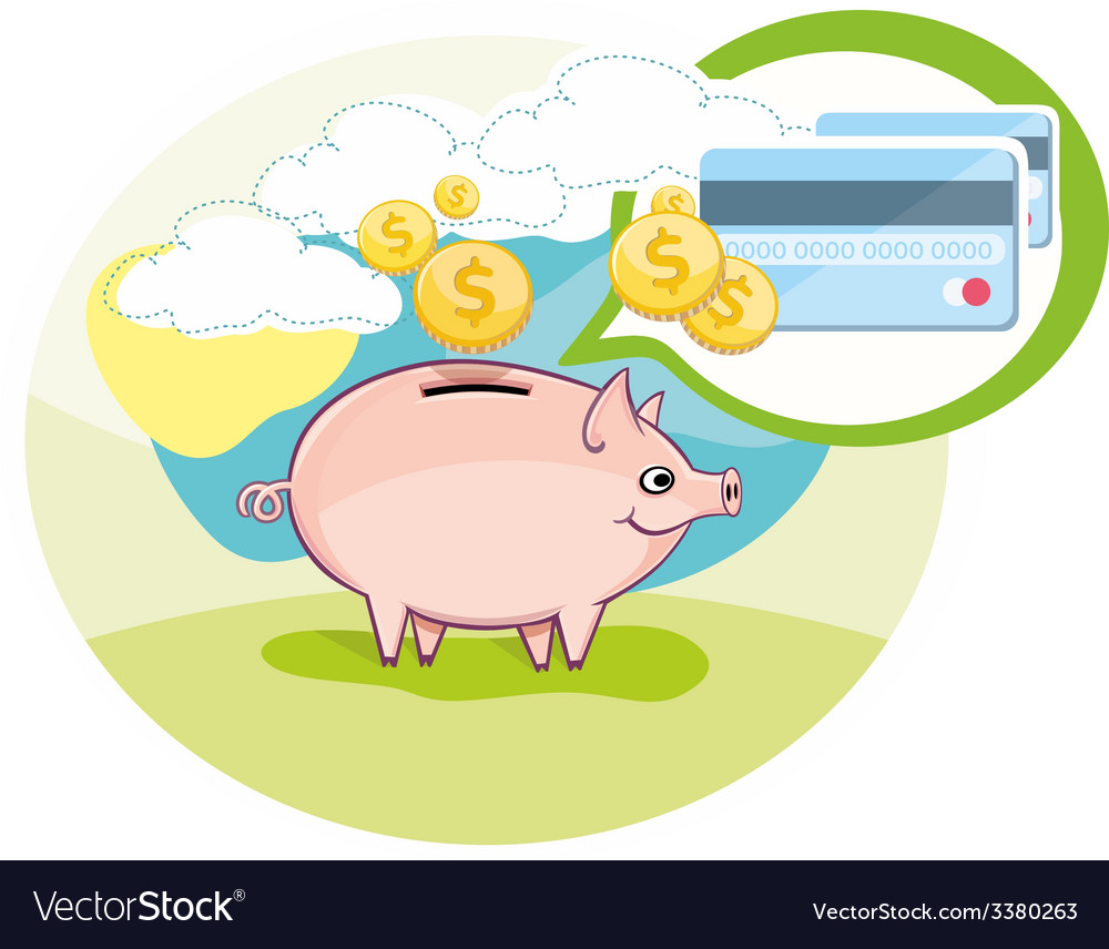 Card with pink piggy bank and coins vector | Price: 1 Credit (USD $1)