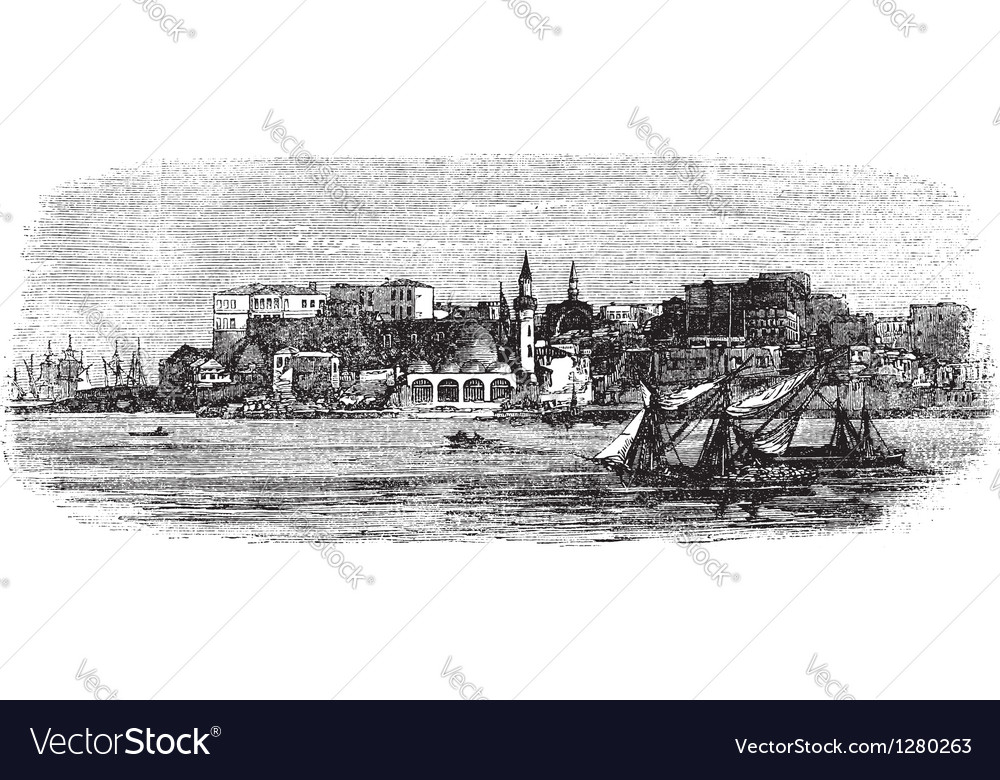 Chania greece engraving vector | Price: 1 Credit (USD $1)