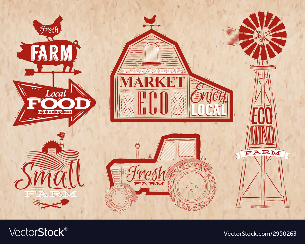 Farm vintage red vector | Price: 1 Credit (USD $1)