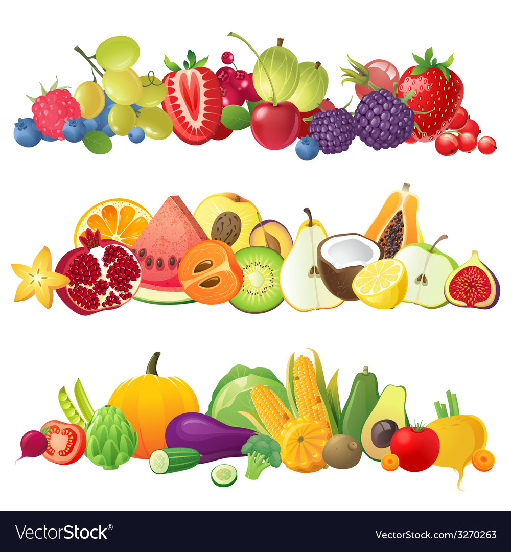 Fruits vegetables and berries borders vector | Price: 1 Credit (USD $1)