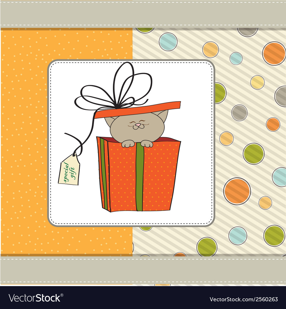Funny birthday card with little cat vector | Price: 1 Credit (USD $1)