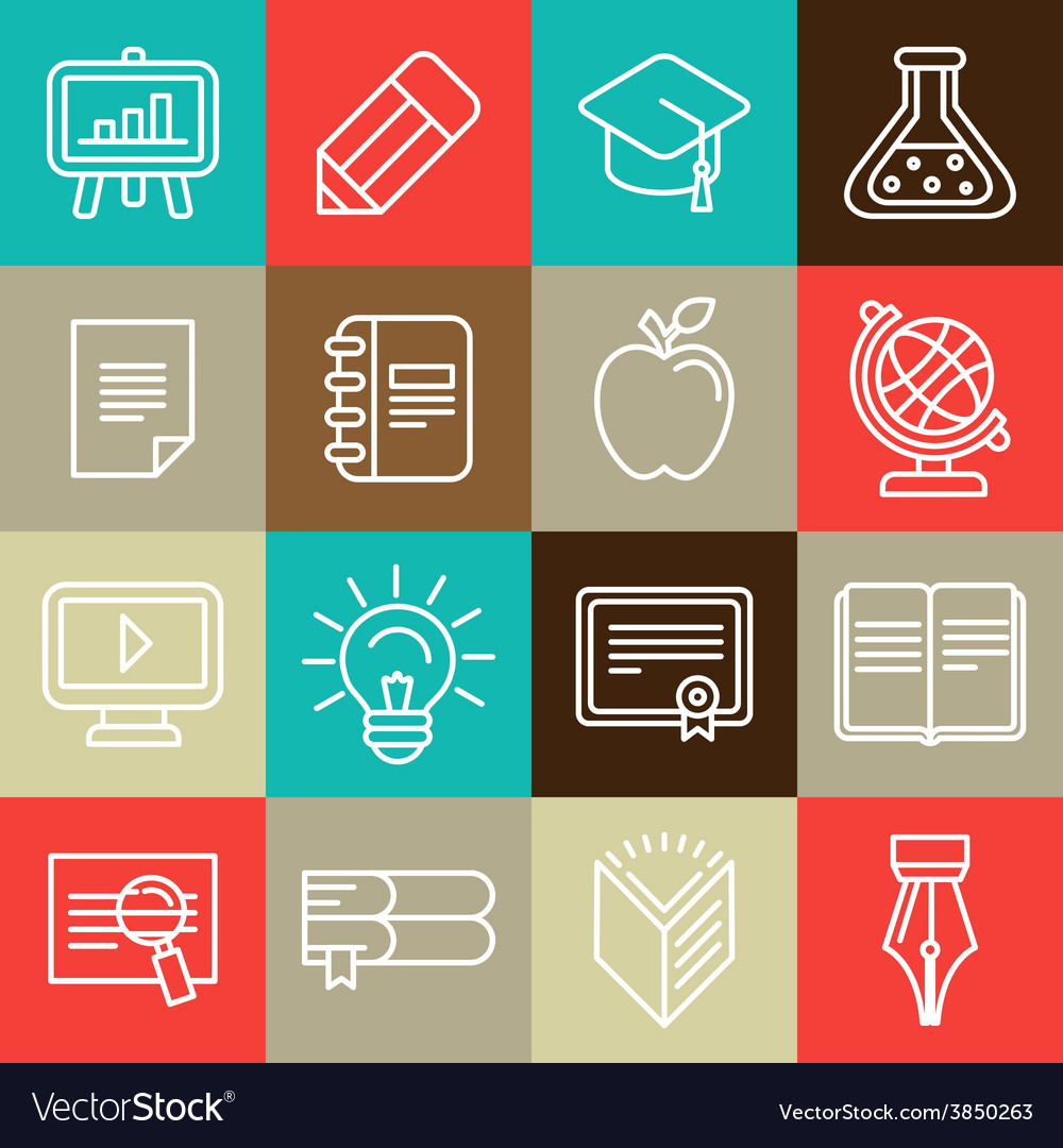 Line icons and signs - education vector | Price: 1 Credit (USD $1)