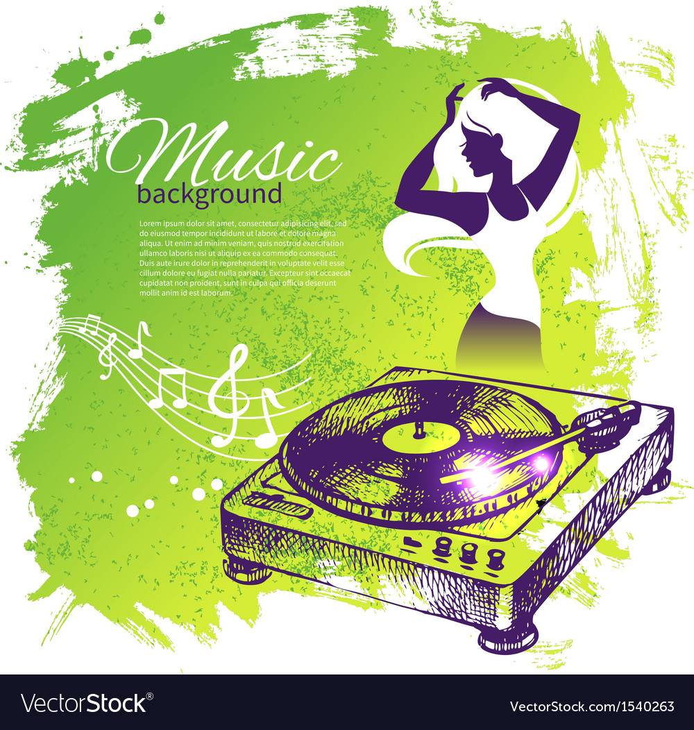 Music background with hand drawn and dance girl vector | Price: 1 Credit (USD $1)