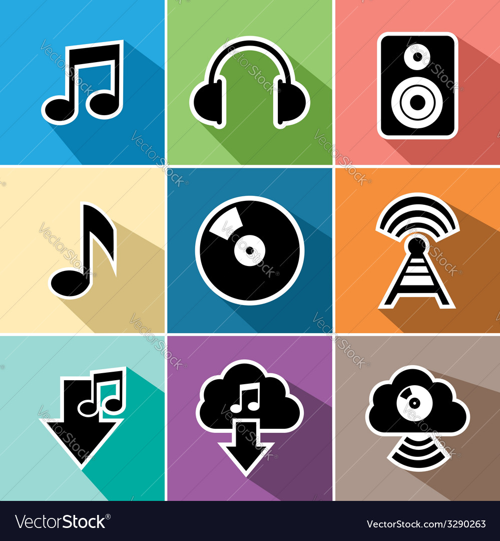 Music flat icons set vector | Price: 1 Credit (USD $1)