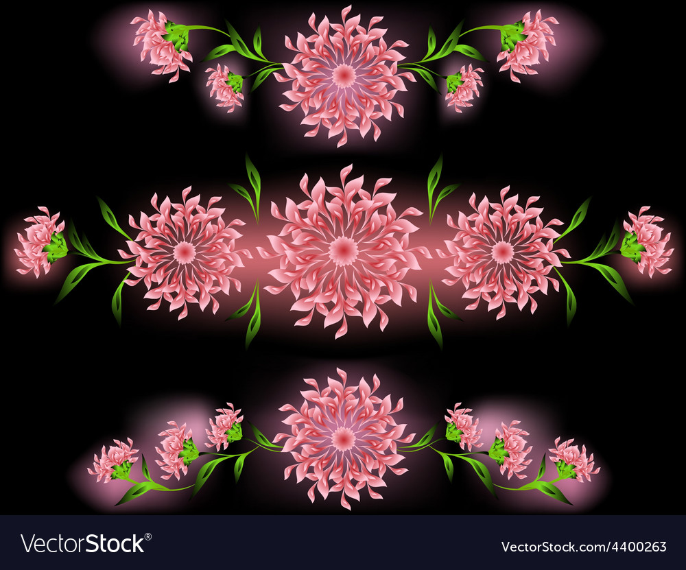 The pattern of pink flowers and leaves on a black vector | Price: 1 Credit (USD $1)