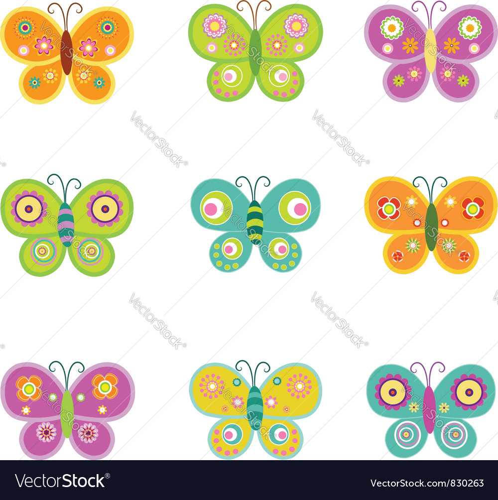 Retro butterflies vector | Price: 1 Credit (USD $1)