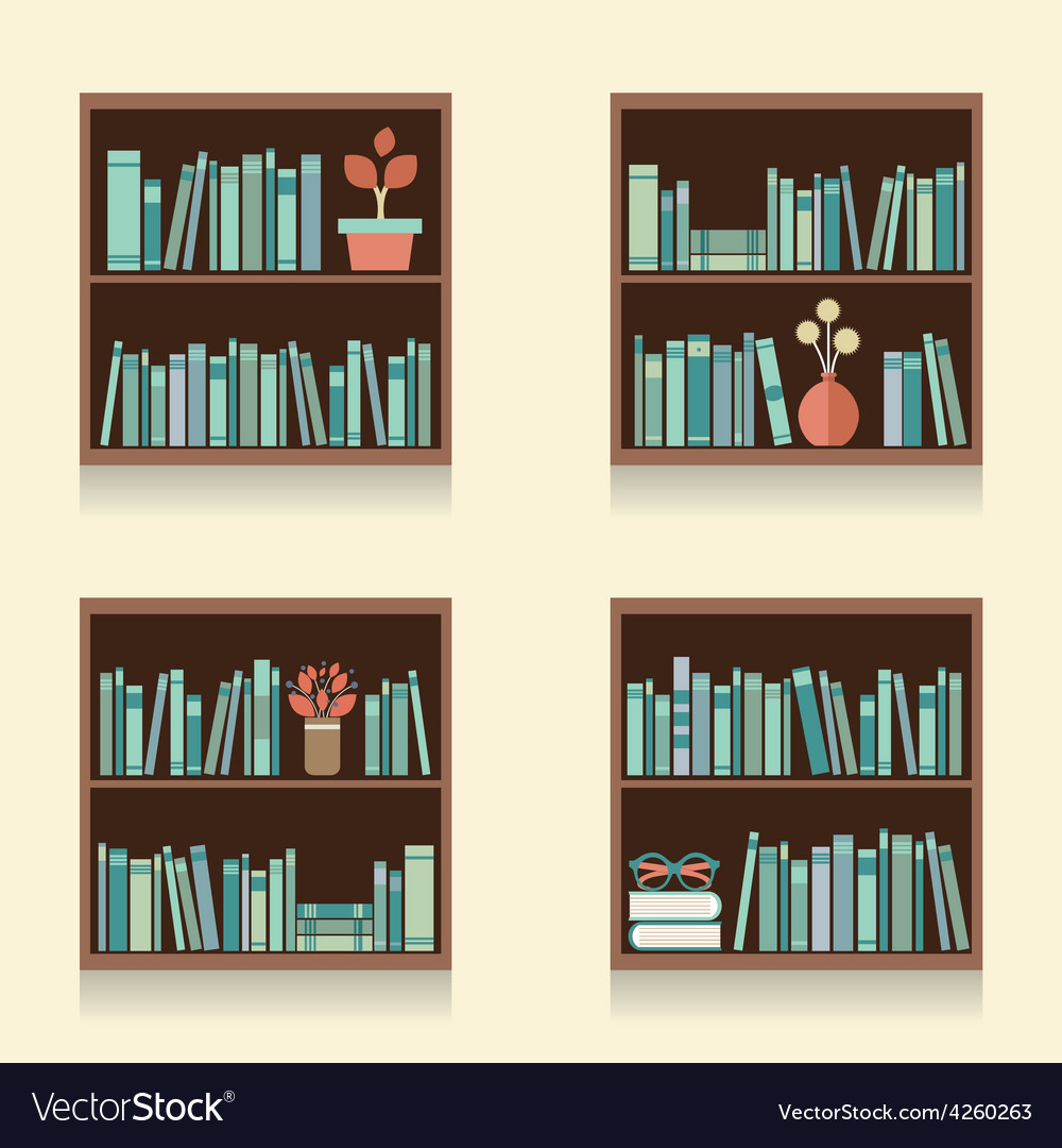 Set of wooden bookshelves on wall vector | Price: 1 Credit (USD $1)