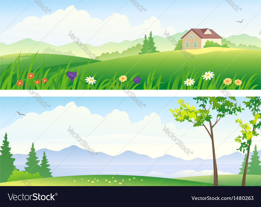 Summer landscape banners vector | Price: 3 Credit (USD $3)