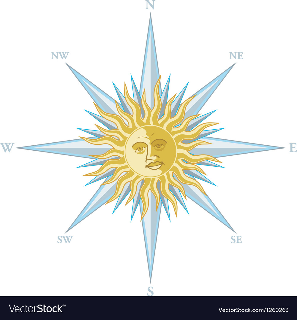 Wind rose with the image sun face vector | Price: 1 Credit (USD $1)