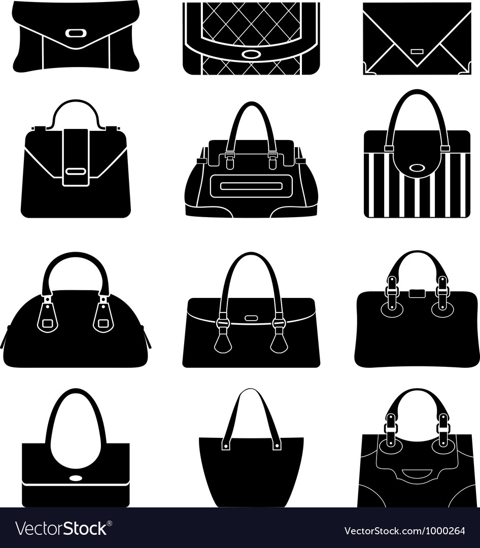 Black icons female bags vector | Price: 1 Credit (USD $1)