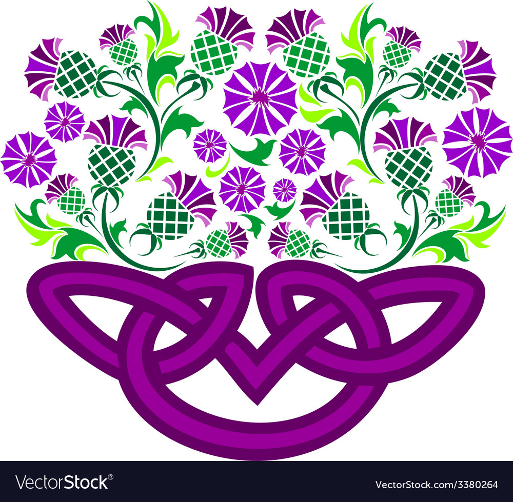 Celtic knot in the form of a basket with flowers vector | Price: 1 Credit (USD $1)